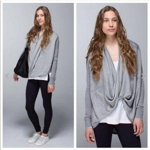 Lululemon gray iconic sweater wrap top size 8